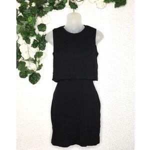 Express - Black Faux Crop Top Keyhole Back Dress